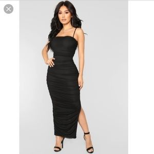 Fashion Nova Feeling My Mesh Ruched Midi Dress